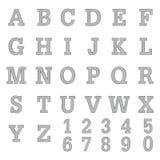 La fuente A a Z y número diseña bosquejo a pulso del lápiz Fotografía de archivo