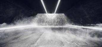 La fumée lumineuse et embrument le couloir concret grunge Hall With White de tunnel d'Udnerground a mené les rayures et le rendu  illustration libre de droits
