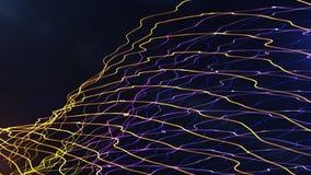 La fumée multicolore de particules de courbe futuriste pointille des lignes ABS de vagues Photos libres de droits