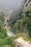 La funicular Santa Cova de en la abadía benedictina Santa Maria de Montserrat españa Imagen de archivo