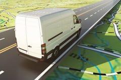 La furgoneta de entrega corre a lo largo de la carretera en un mapa de camino representación 3d libre illustration