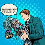 La future science-fiction quelques personnes et le robot Photos stock