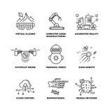 La future technologie et l'intelligence artificielle de robot décrivent des icônes de vecteur illustration libre de droits