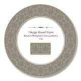 La géométrie croisée indigène ronde du cadre 376 ronds de vintage rétros Illustration Stock