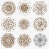 La géométrie magique signe la collection Ensemble de symboles fleuris de mandala Le modèle circulaire Photo libre de droits