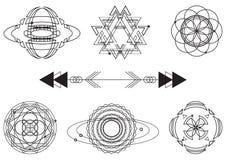 La géométrie sacrée, éléments de conception graphique de vecteur positionnement Photos stock