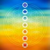 La géométrie sacrée avec le fond coloré d'icônes de chakra Photographie stock