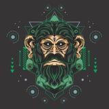 La géométrie sacrée de singe verte en métal illustration de vecteur