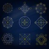 La géométrie signe dedans le fond bleu Photos stock