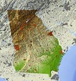La Géorgie, carte d'allégement ombragée Photos libres de droits