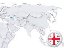 La Géorgie sur la carte de l'Asie illustration libre de droits