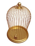 La gabbia dell'oro chiusa sulla serratura Immagini Stock