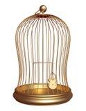 La gabbia dell'oro chiusa sulla serratura Fotografia Stock