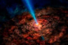 La galaxie étrangère d'imagination avec les nuages en spirale rougeoyants rouges et le soleil rayonnent photos libres de droits