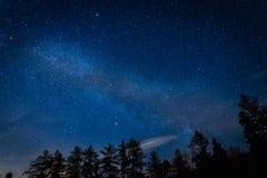 La galaxie de manière laiteuse au-dessus de la forêt noire en Allemagne Image libre de droits
