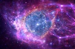La galaxie rougeoyante multicolore de résumé artistique a formé comme oeil photo stock