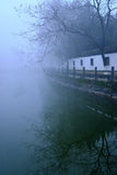 Galleria antica nella nebbia Fotografia Stock Libera da Diritti