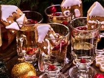La galleta de la Navidad adornó el sacador sobre los vidrios Imagen de archivo libre de regalías