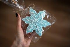La galleta del jengibre de la Navidad bajo la forma de copo de nieve se sostuvo en una mano Imagen de archivo libre de regalías
