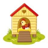 La gallina se sienta en el gallinero ilustración del vector