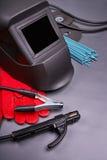 La gama de accesorios para soldar con autógena Foto de archivo libre de regalías