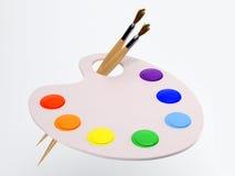 La gama de colores con la brocha y la pintura Fotografía de archivo