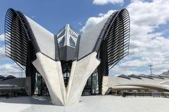 La gare ferroviaire s'est reliée à l'aéroport d'Exupery de saint à Lyon Images stock