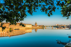La Garonne passing through Toulouse, France. La Garonne passing through Toulouse, Haute-Garonne, Midi Pyrenees, is a mainly French river, its spring in Spain and Stock Image