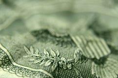 La garra de Eagle que lleva a cabo la rama de olivo de la cuenta de dólar americano foto de archivo