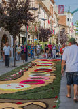 La Garriga town flower carpet corpus christi feast Royalty Free Stock Images