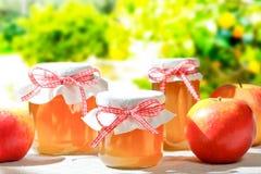 La gelée de pomme faite maison cogne des arbres photos stock