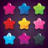 La gelatina del fumetto stars nei colori differenti, vettore isolato Immagini Stock
