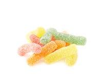 La gelatina rivestita dello zucchero worms i dolci della caramella Immagini Stock
