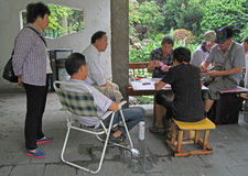 La gente è carte da gioco in parco di Shanghai Immagini Stock Libere da Diritti