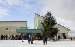 La gente è venuto ad una preghiera di Natale del giorno Fotografia Stock Libera da Diritti