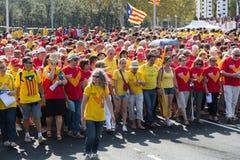 La gente ad indipendenza esigente di raduno per la Catalogna Fotografia Stock