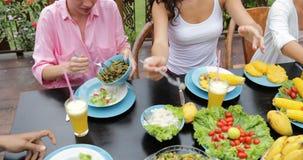 La gente agrupa la consumición de la opinión de ángulo superior vegetariana sana de la comida, amigos que hablan la comunicación  metrajes