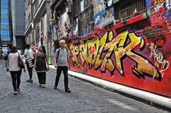 La gente al calzettaio Lane, Melbourne Fotografie Stock