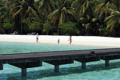 La gente alla festa nell'isola di paradiso delle Maldive, ` 2011 di marzo Immagine Stock