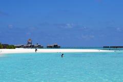 La gente alla festa nell'isola di paradiso delle Maldive, ` 2011 di marzo Fotografia Stock