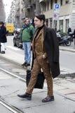 La gente alla settimana di modo di Milano Fotografie Stock Libere da Diritti