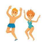 La gente alla spiaggia dell'estate su divertimento piano di vettore di vacanze di festa si rilassa royalty illustrazione gratis