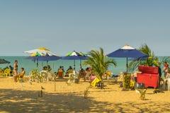 La gente alla spiaggia Fortaleza Brasile Fotografia Stock Libera da Diritti