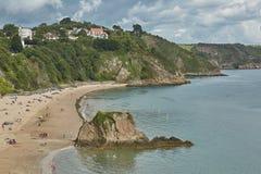 La gente alla spiaggia in Tenby, Galles, Regno Unito Fotografie Stock