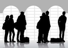 La gente alla stazione Fotografia Stock Libera da Diritti