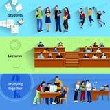 La gente alle insegne di orizzontale dell'università illustrazione di stock