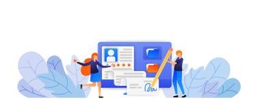La gente approva la nuova applicazione di registrazione degli impiegati firma per un nuovo accordo con una buona valutazione di c illustrazione vettoriale