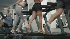 La gente atlética desconocida en ropas de deportes está calentando corriendo en la rueda de ardilla cantidad 4k Ninguna cara Ubic almacen de video