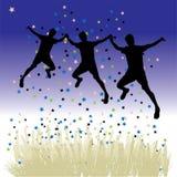 La gente balla sul prato, notte Fotografie Stock