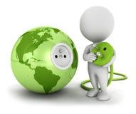 la gente blanca 3d conecta el enchufe dentro de la tierra verde Imagenes de archivo
